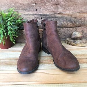 Limelight brown ankle booties with braiding detail